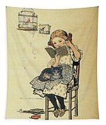 Frolic For Fun Girl And Bird Tapestry