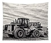 Front End Loader Black And White Tapestry
