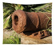 Front End Of An Old Rusty Cannon Lying On The Floor Tapestry