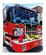 Front Of Fire Truck With Hose Tapestry