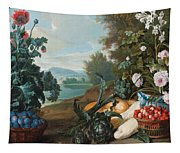 Fruits Flowers And Vegetables In A Landscape Tapestry