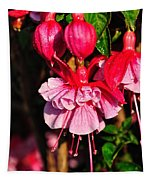 Fuchsias With Droplets Tapestry