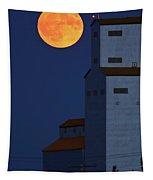 Full Moon Behind Tuxford Grain Elevator Tapestry