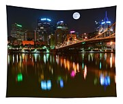 Full Moon Over Pittsburgh Tapestry