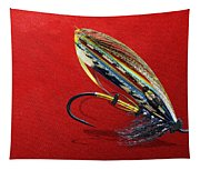 Fully Dressed Salmon Fly On Red Tapestry