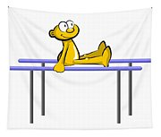 Funny Athlete Doing His Routine On The Parallel Bars Tapestry
