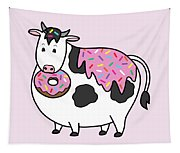 Funny Fat Holstein Cow Sprinkle Doughnut Tapestry