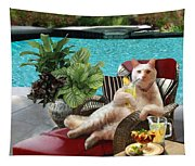Funny Pet  Vacationing Kitty Tapestry