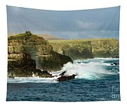 Cliffs At Suarez Point, Espanola Island Of The Galapagos Islands Tapestry