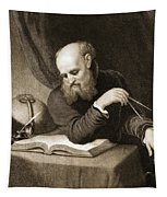 Galileo With Compass And Diagrams Tapestry