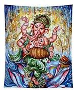 Ganesha Dancing And Playing Mridang Tapestry