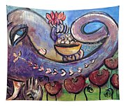 Ganesha With Poppies Tapestry