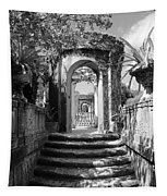 Garden Arches Of Vizcaya - Black And White Tapestry