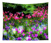 Garden Flowers With Tulips Tapestry