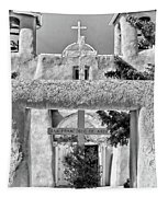 Gate To Ranchos Church Black And White Tapestry