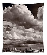 Gathering Clouds Over Lake Geneva Bw Tapestry