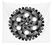 Gearwheel In Black And White Tapestry