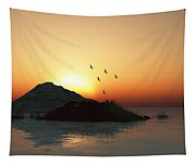 Geese And Sunset Tapestry