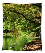 Geese By Pond In Autumn Tapestry