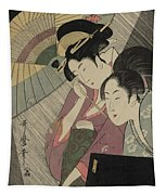 Geisha And Attendant On A Rainy Night Tapestry