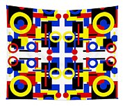 Geometric Shapes Abstract Square 2 Tapestry