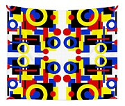 Geometric Shapes Abstract Square 3 Tapestry