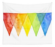 Geometric Watercolor Pattern Rainbow Triangles Tapestry