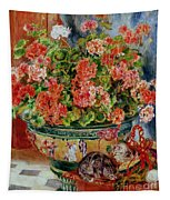 Geraniums And Cats Tapestry