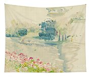 Geraniums By The Lake Tapestry