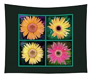 Gerbera Daisy Collage In Square Tapestry
