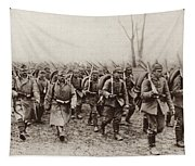 German And Austrian Soldiers Marching Tapestry