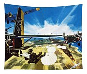 German Paratroopers Landing On Crete During World War Two Tapestry