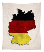 Germany Map Art With Flag Design Tapestry