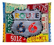 Get Your Kicks On Route 66 Recycled Vintage State License Plate Art By Design Turnpike Tapestry