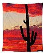 Giant Saguaro  Southwest Desert Sunset Tapestry