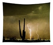 Giant Saguaro Southwest Lightning  Peace Out  Tapestry
