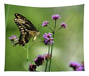 Giant Swallowtail Butterfly On Verbena Tapestry