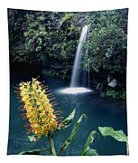 100638-ginger Lily And Hawaiian Waterfall  Tapestry