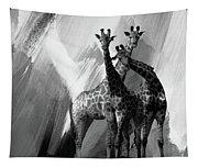 Giraffe Abstract Art Black And White Tapestry