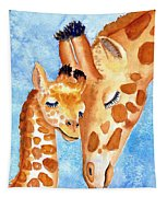Giraffe Baby And Mother Tapestry