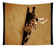 Giraffe Hiding  Tapestry