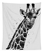 Giraffe In Black And White Tapestry