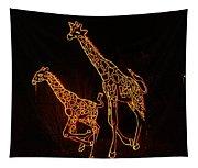 Giraffes Light Show  Tapestry