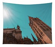 La Giralda Bell Tower Brilliantly Lit In Teal And Orange Tapestry