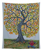 Girl And Leafs Tapestry