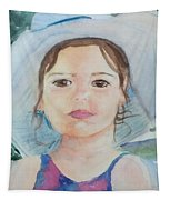 Girl In A Hat Portrait Tapestry