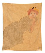 Girl In Olive Coloured Dress With Propped Arm Tapestry