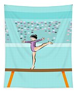 Girl Jumps On One Foot On The Balance Beam Tapestry