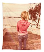 Girl On Redcliffe Travel Holiday Tapestry