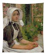Girl Shelling Peas Tapestry